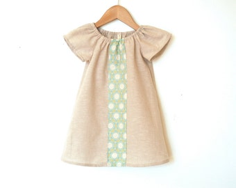 Girls Peasant Dress / Linen Blend / Natural Cream with Pale Turquoise Panel / 0-6 months - 4T