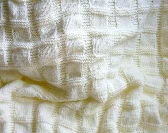 Knit Baby Blanket- Cream White, Antique White- Boy or Girl- Made To Order- Hand Knitted Afghan- Worsted Weight- 30x35