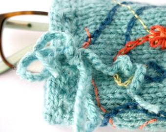 Turquoise Knit Pouch- Eyeglass Cozy- Hand Embroidered, Fabric Lined