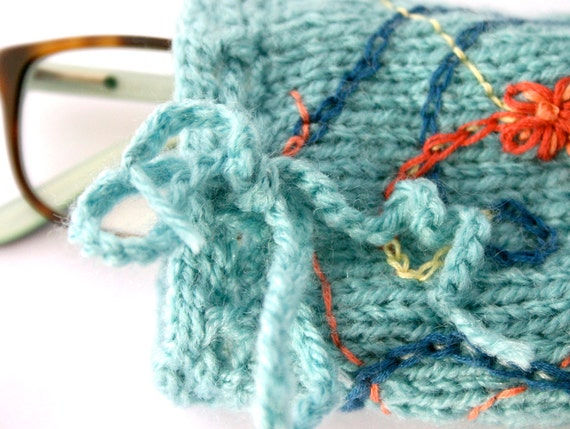 Turquoise Knit Accessory Pouch- Eyeglass Cozy- Hand Embroidered, Fabric Lined