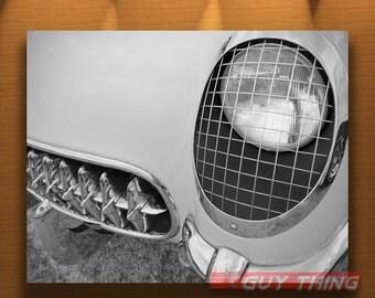 Vintage Corvette, Car Art Photography, Black and White, Mancave Decor, Automotive Art, Corvette Pictures, Man Cave Art, Chevy, Chevrolet