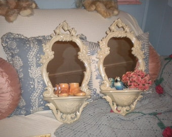 SALE......Spectacular Set of Ornate Syroco Mirror Shelves, Shabby Chic, French Country, Hallway, Baby's Room, Powder Room