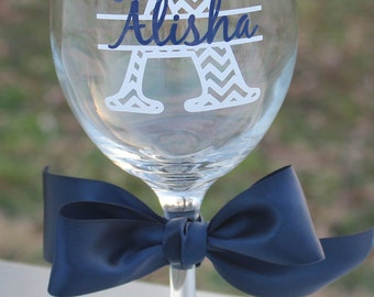 1 Personalized Chevron Personalized Wine Glasses - Great Bridesmaid Gift