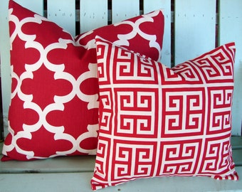 set of 2  lumbar red and natural fynn print- pillow cover-accent pillow cover- decorative pillow cover-gifts under 40-throw pillow