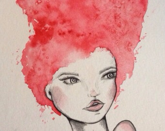 8x10 pencil and watercolor painting pink hair lady