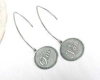 French Jewely Earrings, Long Silver Earrings, Oui Non Earings for Women, Dangle Earrings Metal, Unique Gift for Francophile, Modern Hipster
