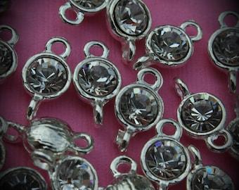 Clear Large Genuine Sterling Silver Plated Swarovski Crystal Connectors Link U100