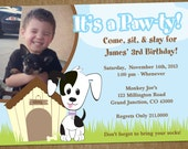 DIY Puppy Dog Pet Adoption Birthday Party Invitation with Photo - Printable Personalized 5x7 Invite Card
