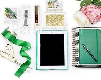 Styled Desktop Stock Photography Image for Ebooks.  Emerald Green, Gold, Black office photo. Web Design Background