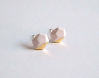 Porcelain faceted geo stud earrings- small white and 24k gold luster, geometric post earrings jewelry, gift for her