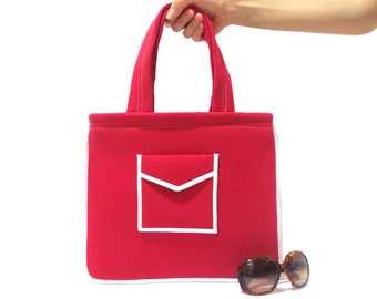 Tote Bag, Trendy tote bag, Red, Neoprene, Shoulder, Teenage bag, Tablet Bag, Red Bag, Pocket bag, Purse, Soft bag, Mini bag
