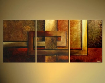 "Modern Abstract Painting Warm Tones Acrylic Painting 54"" x 24"" Original Ready To Hang Fine Art by Osnat - MADE-TO-ORDER - 54""x24"""