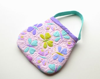 Quilted Toddler Purse. Toddler Handbag. First purse Little girl baby 2nd birthday toy purse Toddler girl gift. Butterfly pink lavender aqua
