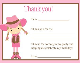 Cowgirl Thank You Card - Digital file - You print / Cowgirl Birthday Party - Cowgirl Party
