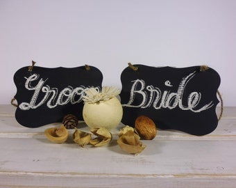 Bride Groom Chalkboard Chair Signs Wedding Chair Decor Set of 2 Wedding Table Signs Photo Props