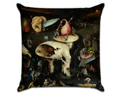 The Garden of Earthly Delights by Bosch (8) - Famous Art Sofa Throw Pillow
