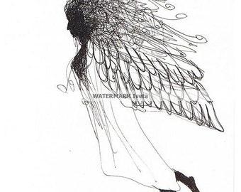 Flight, original drawing, ink/paper