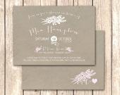 Rustic Kraft Bridal Shower Invitations or Bridal Brunch Invitations