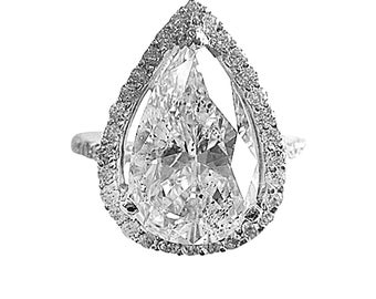 EGL Certified Halo Style 2.08 TCW Pear & Round Cut Diamond Bridal Ring 18K Gold