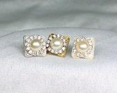 Pearl Bridal Earrings- Vintage Inspired Earrings- Bridal Post Earrings- Pearl & Rhinestone Studs- Wedding Bridal Studs- Pearl Post Earrings