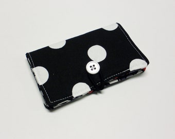 White Lg Dots on Black Fabric Business Card Holder, with Grey Red Black Geometric - Credit Card Holder, Cloth Card Holder, Gift Card Holder