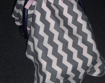 Grey chevron and pink minky tent canopy car seat cover baby infant baby blanket graco evenflo girl