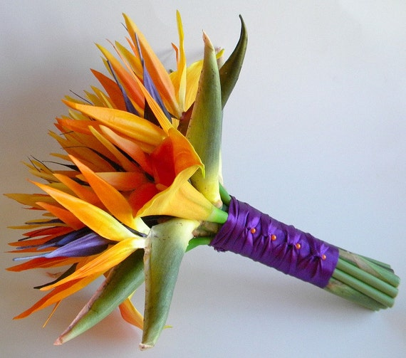 Tropical Bird Of Paradise Bridal Bouquet In Oranges And Purple