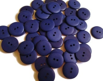 100 Matching Navy Blue Flat, Smooth Buttons, Matte finish, 2 holes, 1/2 inch (12mm) round sewing buttons