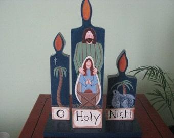 Nativity, Christmas, Mary, Joseph, baby Jesus, sheep, palm tree, candles, handpainted