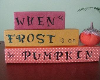 Blocks, fall, pumpkin, frost, shelf sitters, decor