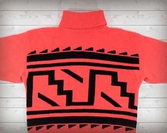 80's Neon Turtleneck Sweater