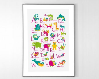 German Alphabet Poster with animals from A to Z, BIG POSTER 13x19 inches - Baby Children Nursery Custom Wall Print Poster
