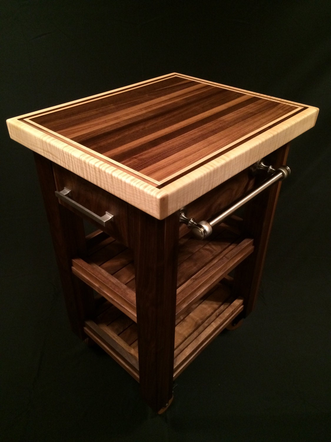 Black Walnut & Curly Maple Butcher Block Cart by MagnoliaWoodWorks