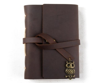 Unique Leather Journal Diary with Vintage Owl A6 Blank Lined Craft Paper Handmade Small Brown with Gift Box