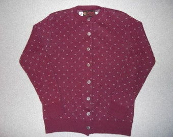 50s 60s Button Up Cute Grandma Sweater Tacky Gaudy Ugly Christmas Sweater Party X-Mas Winter Halloween Costume Made In USA L Large 42