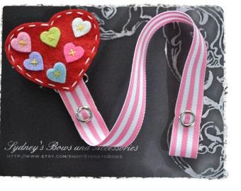 Pacifier Clip, Heart Pacifier Clip, Pacifier Holder