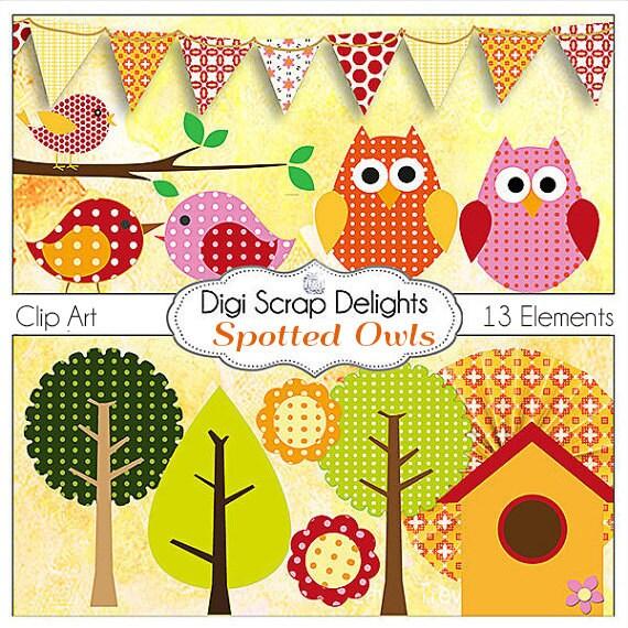 SALE 2.00 Scrapbook Kit! Polka Dot or Spotted Owls Digital Clip Art Scrapbook Element Pack w Owls Orange, Pink, Raspberry, Instant Download