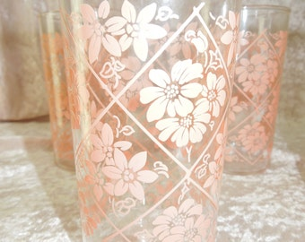 Anchor Hocking Drinking Glasses Pink Flowers Drinking Glasses Set of Six Retro