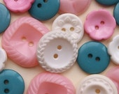 vintage and modern cottage chic pink, teal, and white buttons--mixed lot of 17