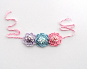 Crochet Necklace - Choker - Crochet Bracelet - Hairband - Crochet Beaded Pastel Roses