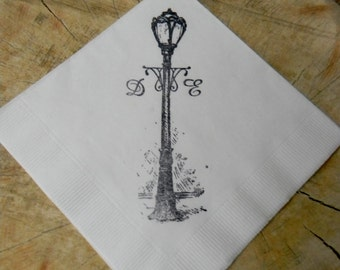 Personalized White Antique Lamp Post Wedding Cocktail Napkins with Large Couples Cursive Initials - Set of 50