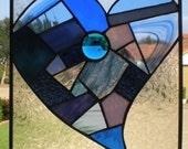 Stained Glass Patchwork Heart Panel in Blue