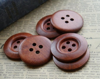 "8 pcs LARGE Red Stained Wood Buttons Reddish Brown 4 Hole 4cm 40mm 1 5/8""   (WB2035)"