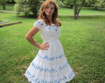 Vintage 50s Mexican Dress Set / 1950s Patio Dress / Skirt and Blouse Set