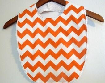 Orange Chevron Toddler Bib