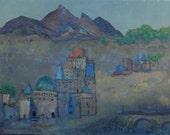 "Tibetan Monastery - 16"" X 20"" - Original Oil on Canvas Painting"