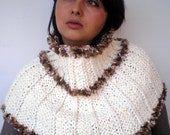 White Cream Snowman CapeletHand Knit Capelet  soft Mixed wool Cape Woman Trendy Capelet Fall Winter NEW