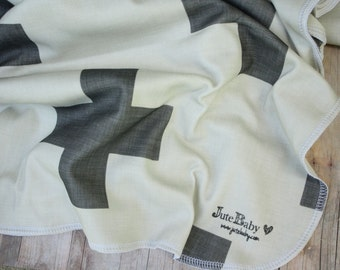 Cream and Gray Swiss Cross Baby Blanket | Organic Swaddle Wrap | by JuteBaby