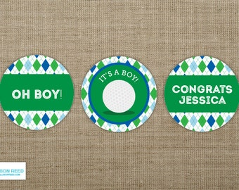 Golf Baby Shower - Golf Printable - Golf Birthday - Cupcake toppers - Sports Birthay - Sports Printable - Boy Birthday - Boy Baby Printable