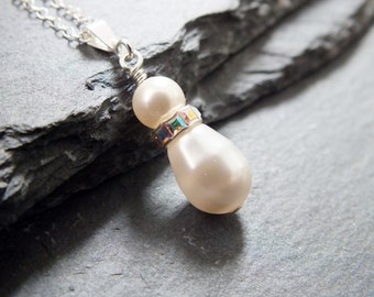 Bridesmaid gift, Pearl and Sterling Silver necklace pendant necklace uk bridal jewelry, wedding jewellery, white,ivory